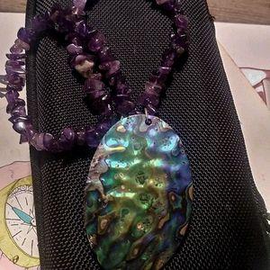 Purple Amethyst Quartz Abalone shell Silver